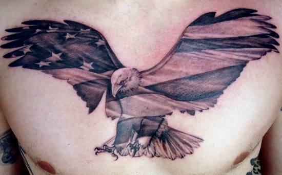Ultimate Eagle Tattoo Design Make On Men's  Chest