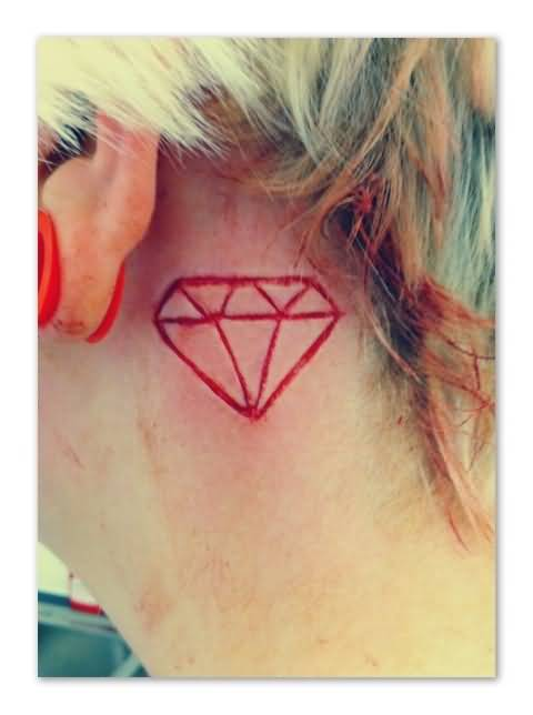Ultimate Famous Red Diamond Tattoo Make On Ear For Women