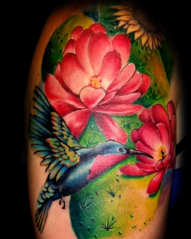 Ultimate Flying Sweet Bird And Amazing Feminine Flower Tattoo On Upper Sleeve