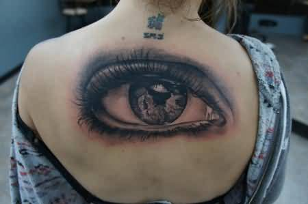 Ultimate Upper Back Cover Up With Brilliant Eye Tattoo For Women
