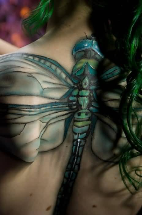 Ultimate Upper Back Cover Up With Relaistic Big 3D Dragonfly Tattoo