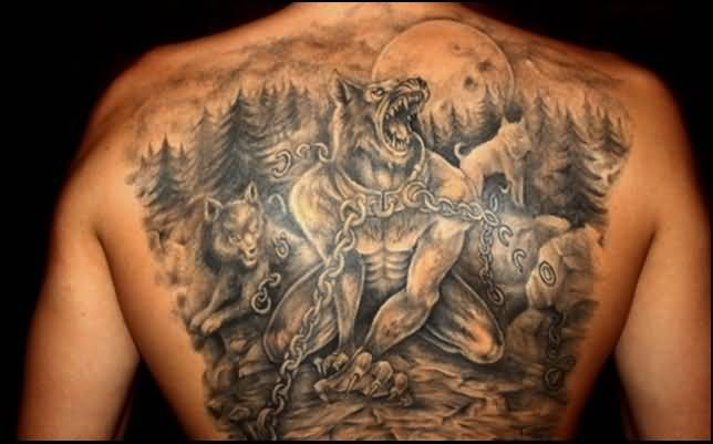 Upper Back Cover Up With Nice Angry Fantasy Bear Tattoo For Men