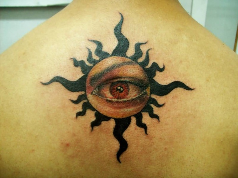 Upper Back Cover Up With Outstanding Black Tribal Eye Tattoo