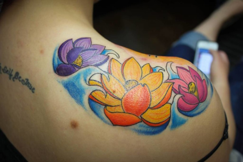 Upper Back Cover Up With Outstanding Classy Lotus Flower Tattoo