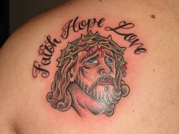 Upper Back Cover Up With  Outstanding Faith Hope Love Religious  Jesus Face