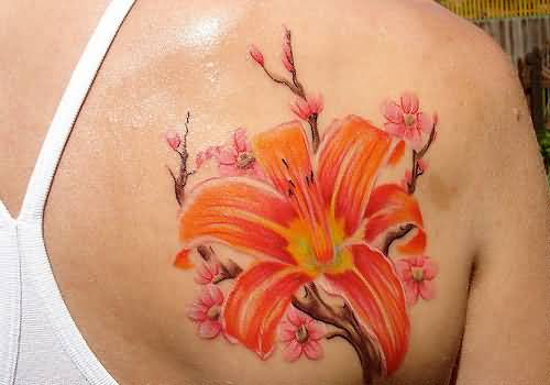 Upper Side Back Cover Up With Floral Tattoo