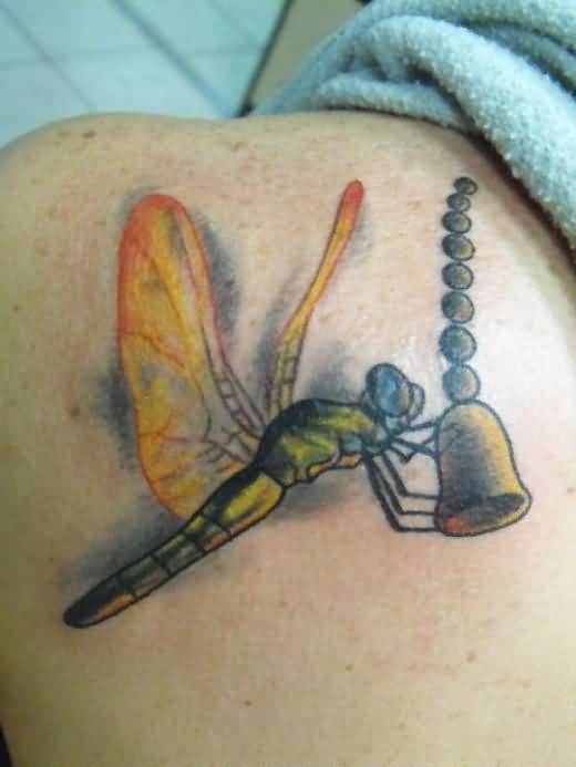 Upper Side Back Cover Up With Outstanding Crazy Dragonfly Tattoo