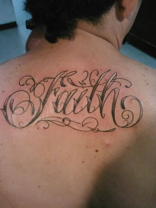 Upper side back cover up with outstanding faith text for Side back tattoo