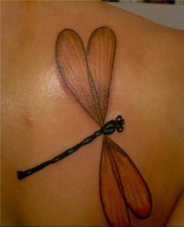 Upper Side Back Cover up With Outstanding Dragonfly Tattoo