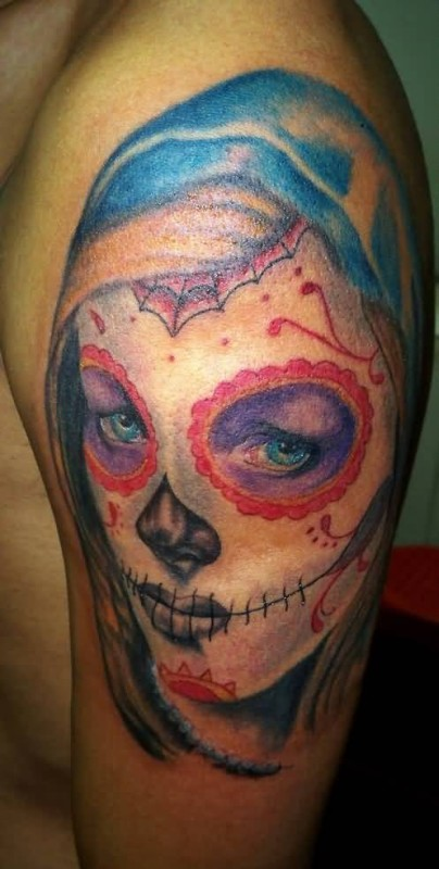 Upper Sleeve Cover Up With Outstanding Classy Sugar Skull Face Tattoo For Men
