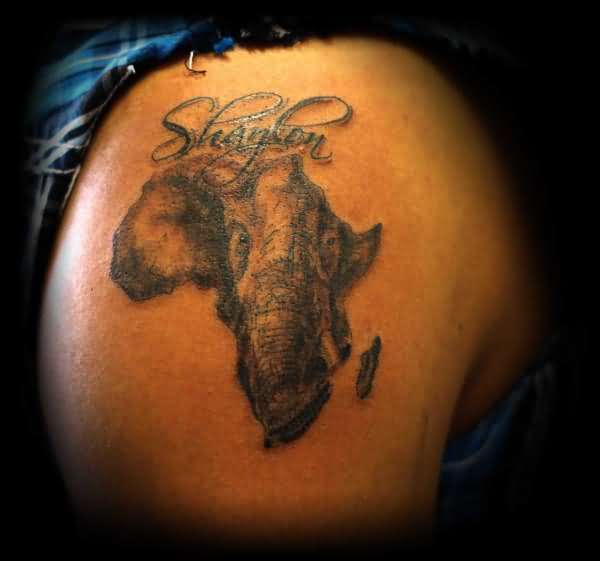 Upper Sleeve Cover Up With Outstanding Elephant Face In Simple African Map Tattoo