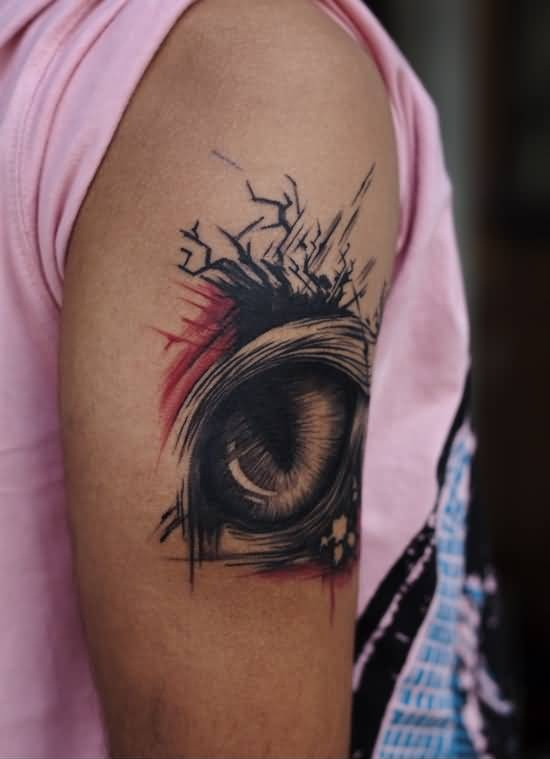 Upper Sleeve Cover Up With Outstanding Eye Tattoo Made By Perfect Artist