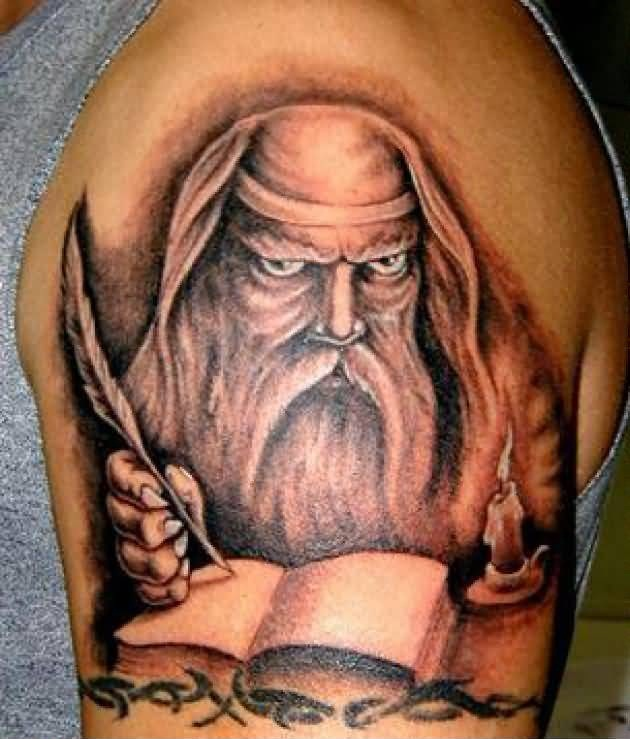 Upper Sleeve Cover Up With Outstanding Fantasy Wizard Tattoo
