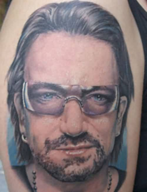 Upper Sleeve Decorated With Outstanding Extreme Men Face Tattoo