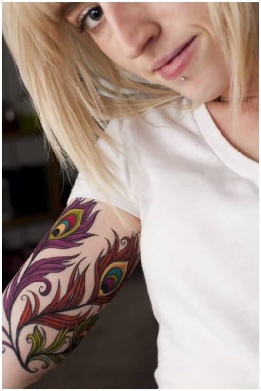 Upper Sleeve Decorated With Ultimate Peacock Feather Tattoo For Perfect Hot Women
