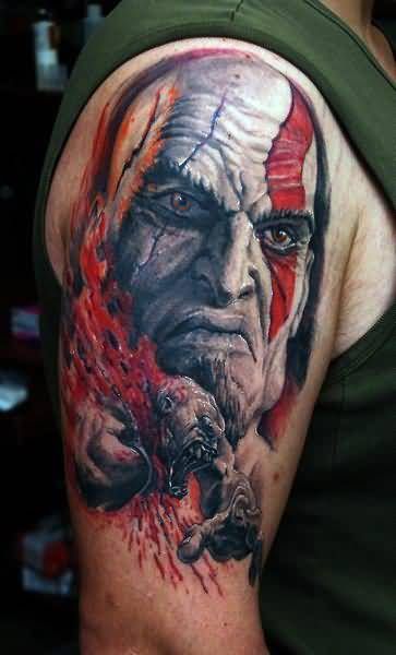 Upper Sleeve Decorated With Ultimate Vampire Face Tattoo For Men