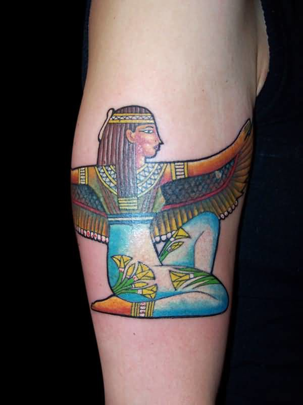 Upper Sleeve Decorated With Wonderful  Big Wings Egyptian  Girl Tattoo