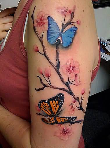 Upper Sleeve Decorated With Wonderful Butterfly And Feminine Cherry Blossom Tattoo