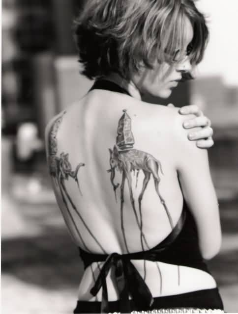Women Back Cover Up With Classy Black And White Dali Elephant Tattoo