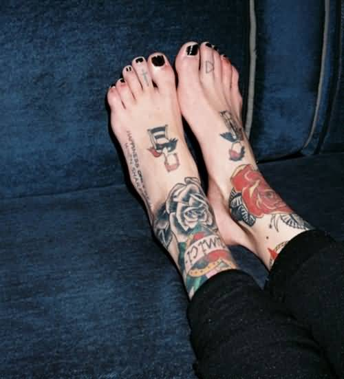 Women Both Foot Simple Flowers Tattoo Image