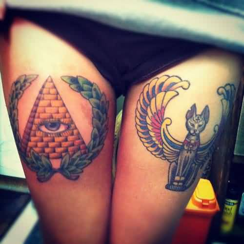 Women Both Thigh Cover Up With Egyptian Cat Tattoo Design With Eye