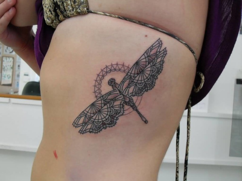 Women Rib Side Cover Up With Outstanding Unique Dragonfly Tattoo