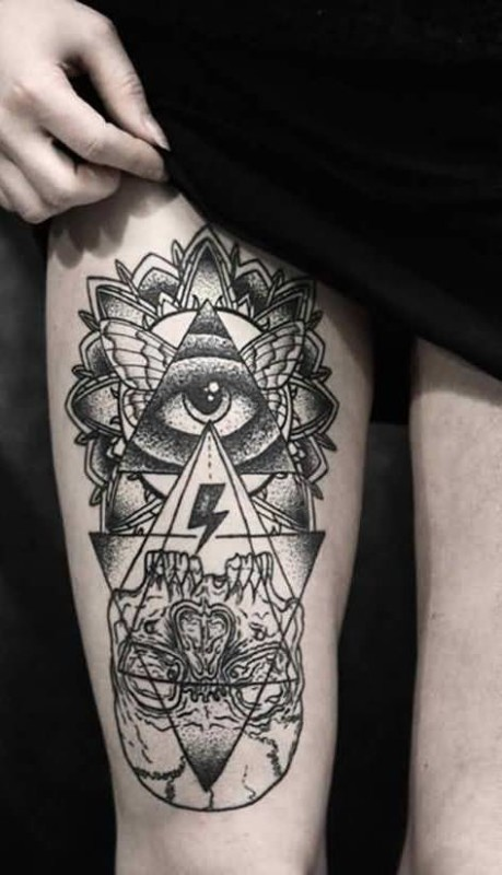 Women Show Wonderful Thunder Sign And Amazing Triangle Eye Tattoo On Thigh
