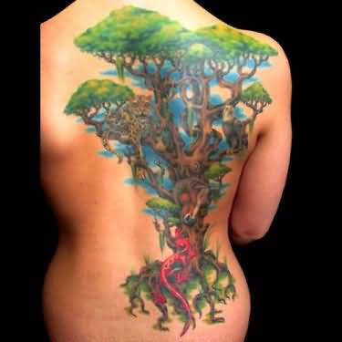 Women Side Full Back Cover Up With Classy Fantasy Tree Tattoo