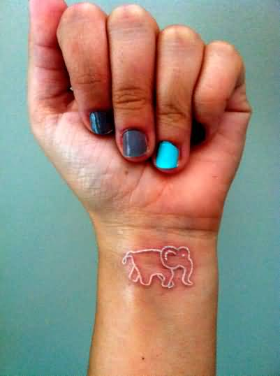 Women Wrist Cover Up With Outstanding White Ink Sweet Baby Elephant Tattoo