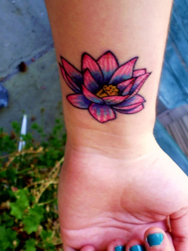 Women Wrist Nice Looking Pink Lotus Flower Tattoo