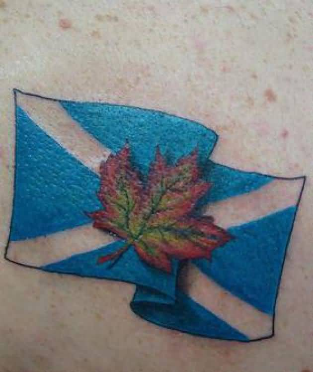 Wonderful Classy Candian Leaf And Flag Tattoo