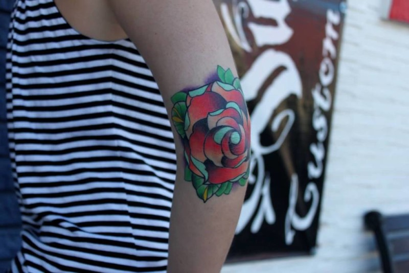 Wonderful Lovely Rose Elbow Tattoo For Women