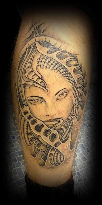 Wonderful Ripped  Skin Simple Lady Face Tattoo Design Made By Perfect Artist
