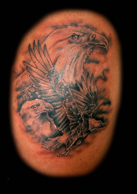 Wonderful Twin Eagle Head Tattoo Design