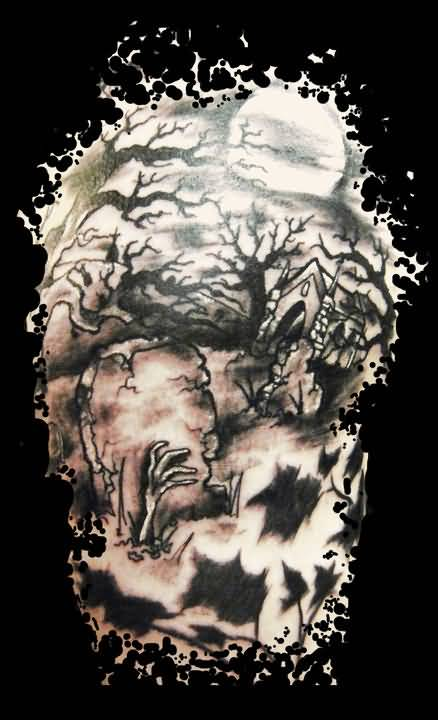 Amazing Cool Dark Graveyard Tree Tattoo