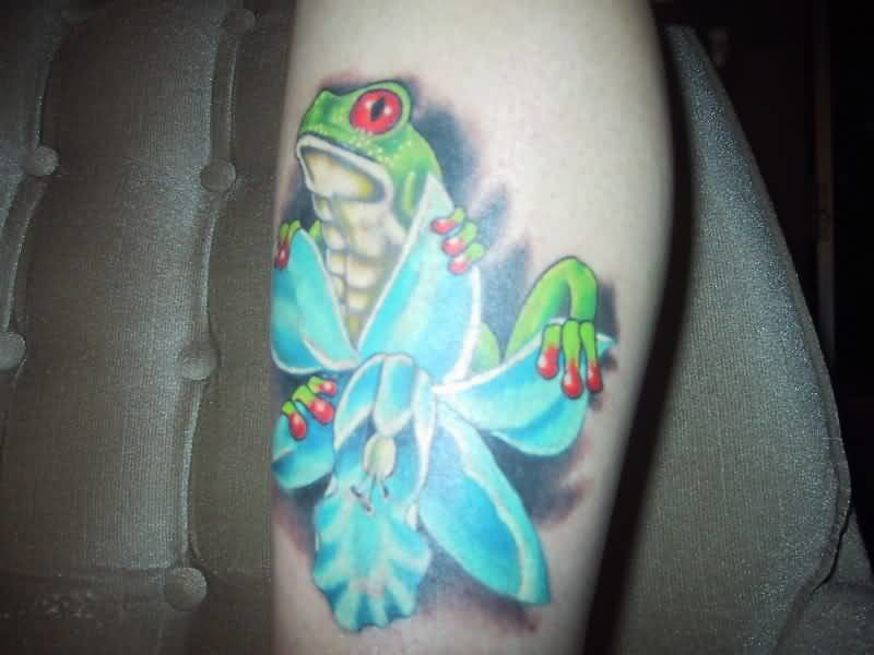 Angry Frog With Brilliant Flower Tattoo Design Made By Perfect Artist