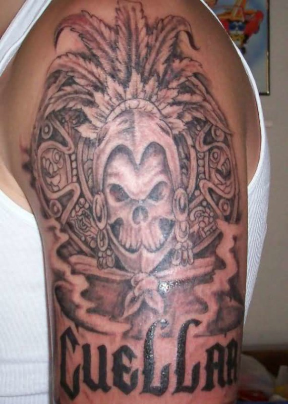 8cabadec1 Angry Half Sleeve Aztec Mask With Black Ink Text Tattoo Design For Cool Men