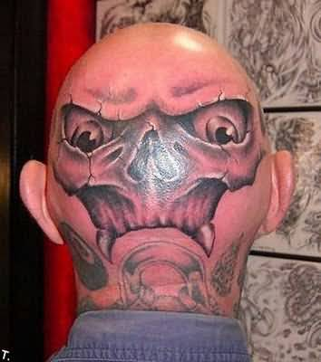 1be52a509 Angry Skull Tattoo Design Image Make On Men's Back Head
