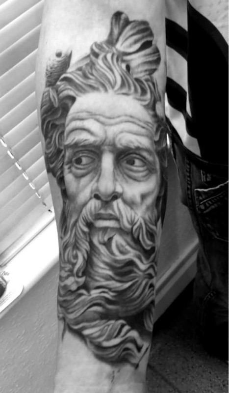 Another Best Black And White Ink Religious Greek God Tattoo  On Lower Sleeve