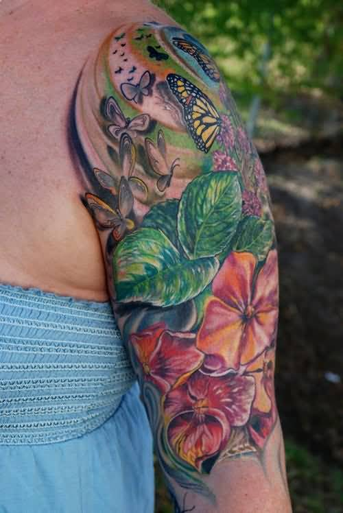 Another Best Half Sleeve Cover Up With Outstanding Flowers Flying Butterflies Tattoo Design Image For Cool Women