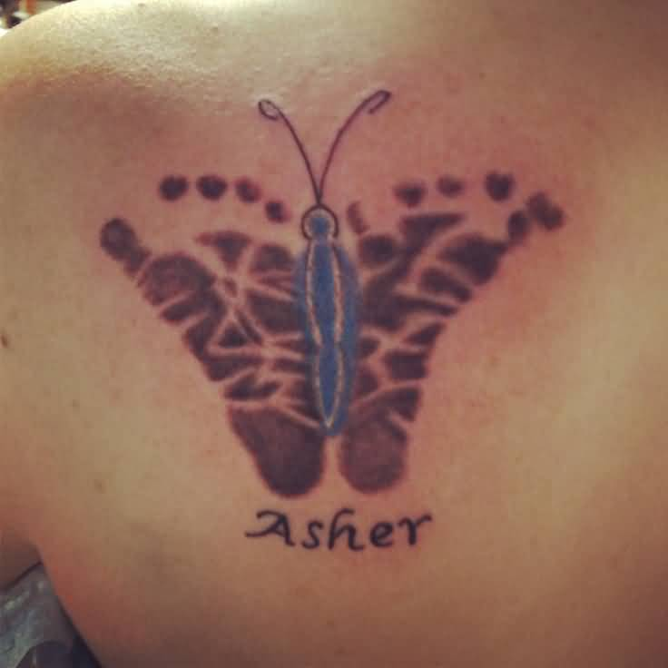 Asher Name Beautiful Butterfly Footprint Tattoo