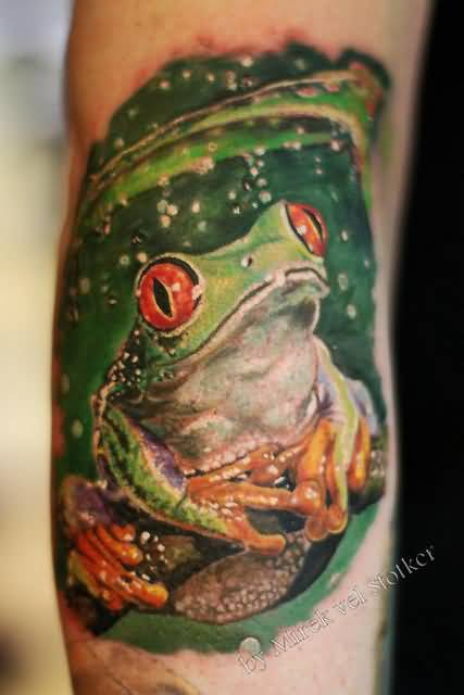 Attractive 3D Frog Tattoo Image Made By Perfect Artist