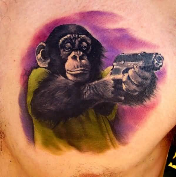 Awesome 3D Monkey Hold Gun Tattoo Design Image Make On Men's Chest