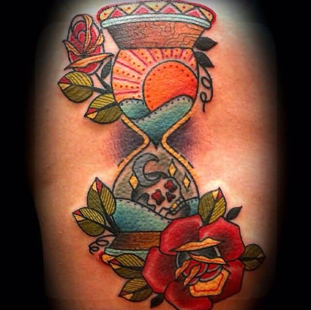 Awesome Beautiful Red Flower With Sand Glass Tattoo