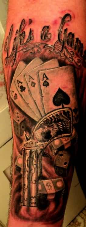 Awesome Cards Gambling Tattoo Made By Cool Artist