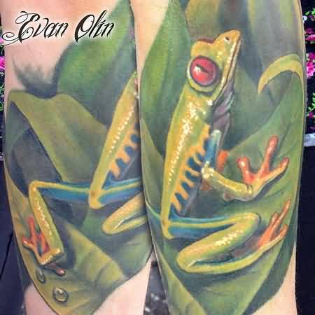 Awesome Green Color Frog Tattoo Made By Cool Artist