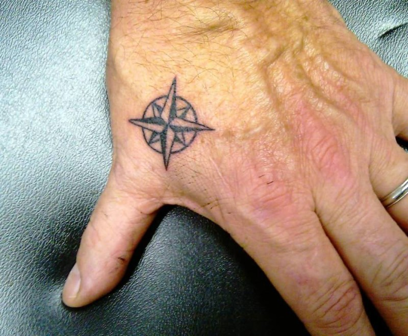 Awesome Side Hand Cover up With Outstanding Compass Tattoo
