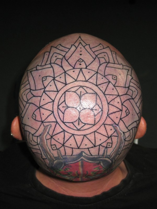 Beautiful Full Head Cover Up With Lovely Flower Tattoo Design For Cool Men