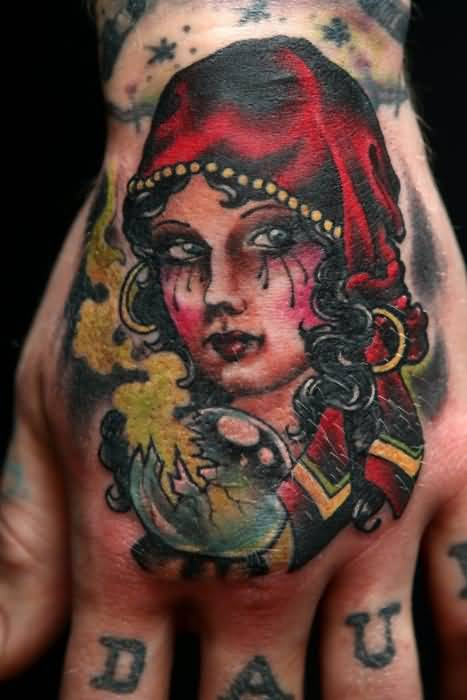 Beautiful Gypsy Girl Tattoo Design Picture Make On Hand
