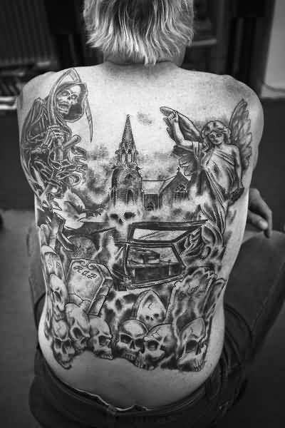 Black And Grey Ink Nice One Amazing Graveyard Tattoo Design Image Make On Full Back